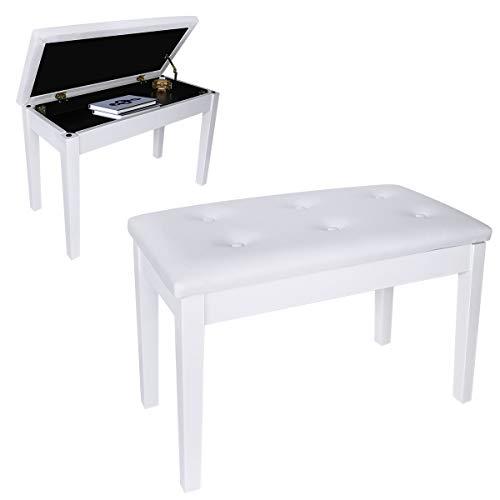 DoubleBlack Banco Piano para 2 Personas Banqueta Piano Taburete para Teclado Pies Madera Maciza con Contenedores Blanco