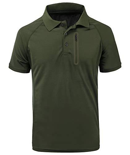 ZITY Mens Polo Shirt Cool Quick-Dry Sweat-Wicking Short Sleeve Sports Golf Tennis T-Shirt Army Green-XL