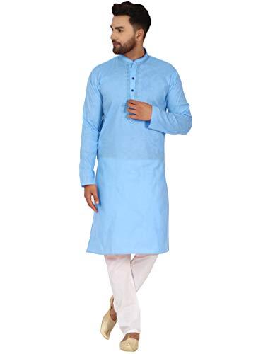 SKAVIJ SKAVIJ Herren Baumwolle Kurta Pyjama Indischer Ethnisch Set (Türkis, S)