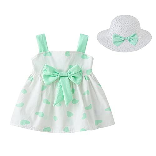 Vestido de verano para niña pequeña, sin mangas, bowknot una línea minifalda con paja sombrero de sol