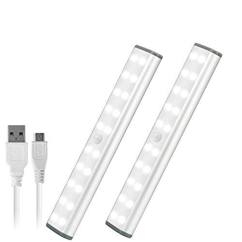 LEPOTEC 人感センサー ライト 20-LED USB充電式 ワイヤレス夜間ライト クロゼットライト フットライト 押し入れライト 階段ライト 台所の手元灯 自動点灯 超寿命 高感度 省エネ 磁気式 貼り付け式 簡単な取り付け 感電防止 寝室 ベビール