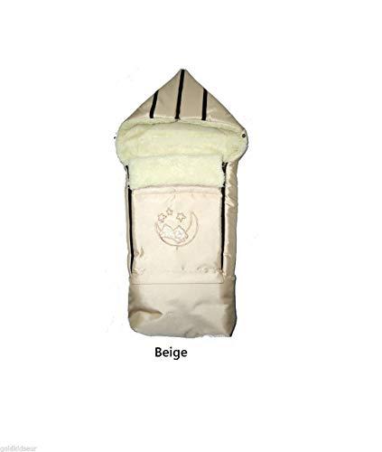 Lamswol wintervoetenzak zak voetenzak hoorntje babyvoetenzak met ritssluiting slee kinderwagen babyschaal 40 x 90/107 cm crème