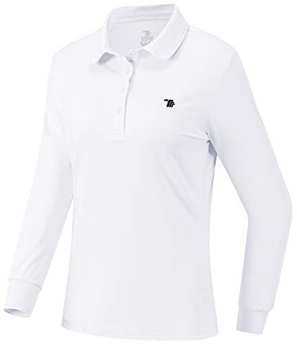 JINSHI Mujer Polo de Manga Larga Cálida Camiseta de Golf con Botones Blanco XXL