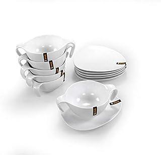 OVUM - Set consomé 12 piezas - 6 tazones y 6 platillos - Porcelana blanca
