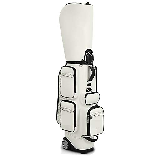 Bolsa de golf para lápices Estándar damas bolsa de golf con la maleta bolsa de almacenamiento Campo de ruedas de poliuretano retráctil Hombres para hombres mujeres ( Color : Blanco , Size : 87x40cm )