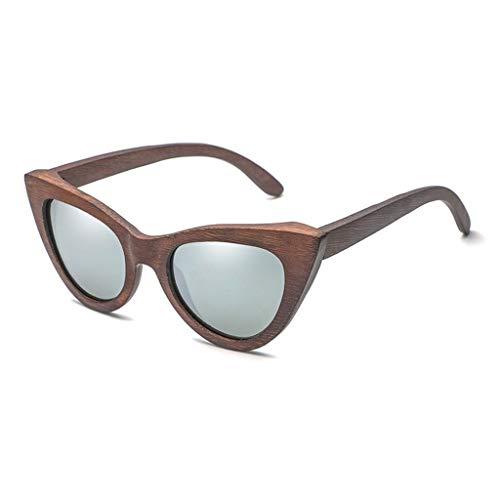 Gafas sol Madera de bamb del Ojo de Gato de Moda de Las Mujeres, vidrios y anteojos polarizados de la Personalidad de Madera Gafas de bamb (Color : La Plata)