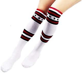 Lovely Socks Children Cotton Mesh Socks Kids Summer and Autumn Pentagram Stripe Patterns Mid Tube Stocking(Black) Newborn Sock (Color : White)