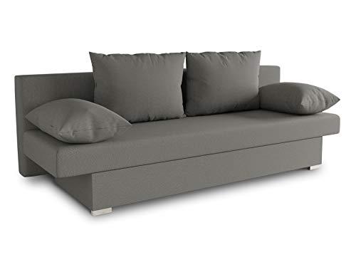 Schlafsofa Tina inklusive Bettkasten - Sofa mit Schlaffunktion, Bettsofa, Couchgarnitur, Couch, Bett, Schlafmöbel (Alova 10 (Grau))