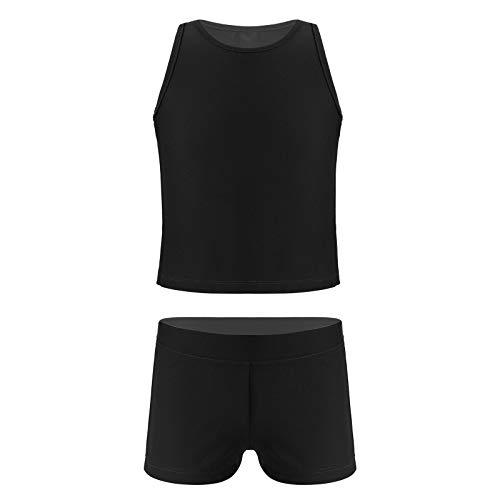 YOOJIA Conjunto de 2 Piezas de Traje Deportivo para Niñas Traje de Verano para Gimnasia Yoga con Top sin Mangas y Pantalones Cortos Negro 5-6 años