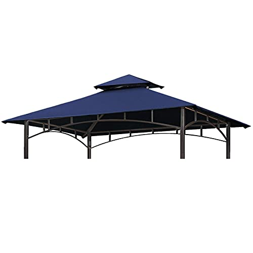 Gazebo Cover Replacement 3x3m Waterproof Patio Canopy Tent Top, Grill BBQ Gazebo Roof Top Gazebo Replacement Roof Canopy 2 Tier Top UV Cover Garden Patio Outdoor Sun Awning Shelters (TOP ONLY)