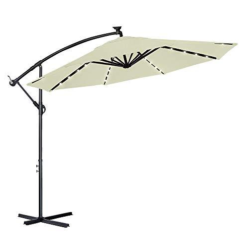 LZQ - Sombrilla de aluminio para balcón, jardín, 350 cm, para terraza, mercado, con protección UV 40+, para jardín, terraza, balcón