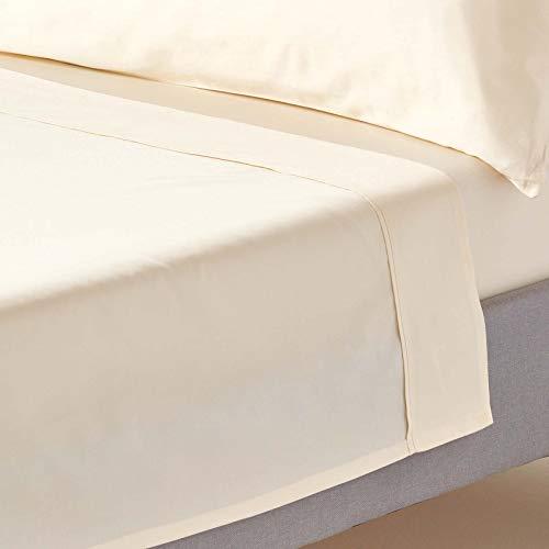Homescapes Drap Plat Couleur Crème de Luxe pour 1 personne de 180 x 260 cm en Pur coton peigné d'Egypte 400 TC (qualité percale 150 fils/cm²)