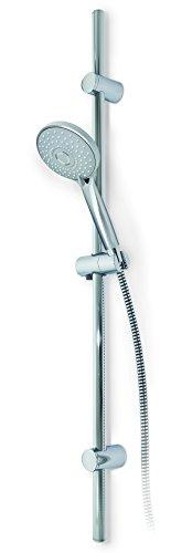ADOB Brause Dusch Set, Handbrause Ø 115 mm 3 Funktionen, Brausestange 100 cm verstellbare Wandhalter (alte Bohlöcher können verwendet werden), Brauseschlauch 150 cm, 40273