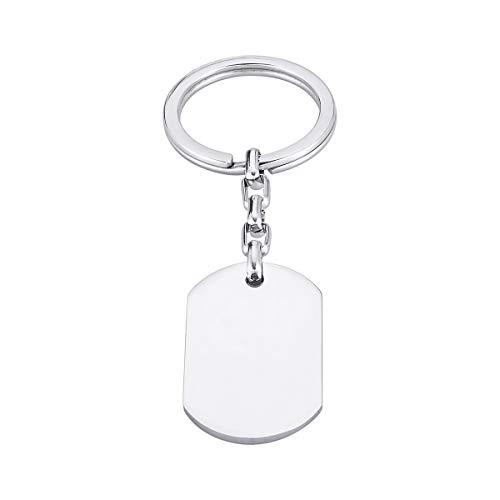 Aangepaste Gravure Cirkel Rechthoek Sleutelhanger Sleutelhanger Ring Voor & Terug Gegraveerd - Gepersonaliseerd, rectangle-engraving