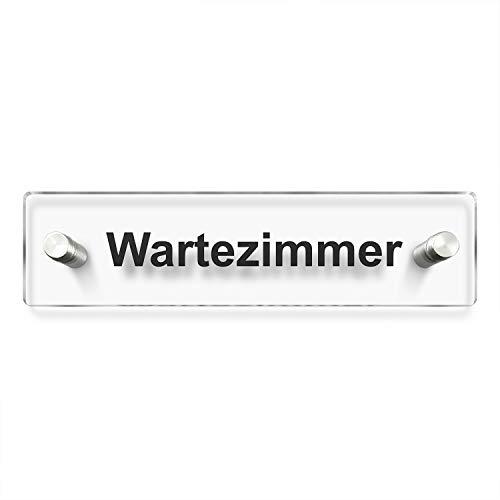 Kinekt3d Leitsysteme Wandschild/Türschild • Wartezimmer - Praxisschild • 200 x 50mm. Schild besteht aus hochtransparentem 3mm Acrylglas. Inkl. 2 x Abstandshalter aus V2A Edelstahl