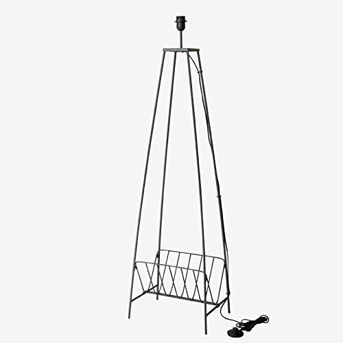 Better & Best 1831931 Lámpara de suelo con 4 patas de hierro con revistero gris de hierro, gris