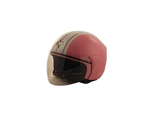 Generico Casco One Jet Demi Jet micro mujer interior lavable moto y scooter rosa blanco M