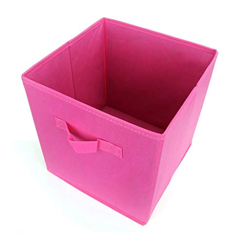 RFJJAL Foldable Fabric Basket Bins, Collapsible Storage Cube For Nursery Home And Office -10.6inches (Color : Rose red)