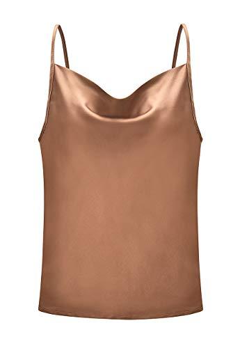 OMZIN Camisole Unterhemd Frauen Satin Basic Full Slip V Neck Ärmellos Side Split Tops Fashion Tank T-Shirt,Khaki,M