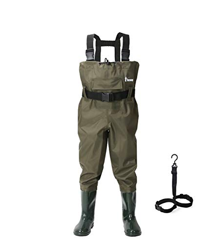 Ouzong Chest Waders for Kids, Lightweight Cleated Nylon and PVC Fishing Bootfoot Chest Waders for Boy and Girl with Boot Hanger, Army Green Waterproof Chest Waders for Children (Green, 12/13)