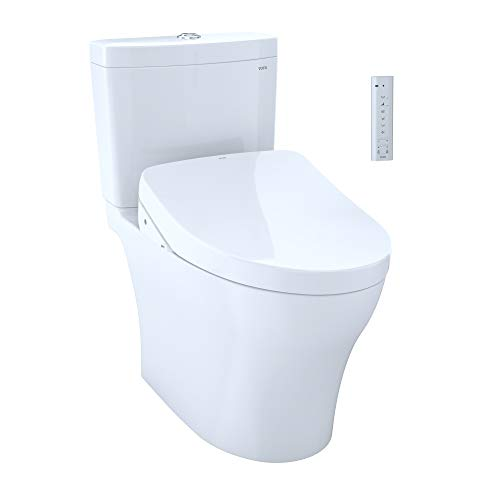 TOTO MW4463046CEMG#01 WASHLET+ Aquia IV Two-Piece Elongated Dual Flush 1.28 and 0.8 GPF Toilet with S500e Electric Bidet Seat, Cotton White