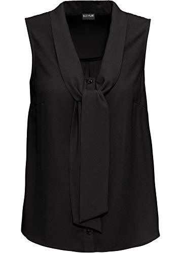 bonprix Ärmellose Bluse mit Schluppe und Knöpfen schwarz 38 für Damen