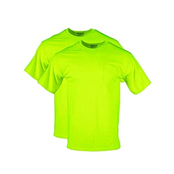 Gildan Men s DryBlend Workwear T-Shirts with Pocket 2-Pack Safety Green X-Large