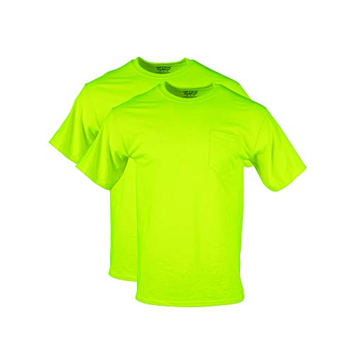 Gildan Men's DryBlend Workwear T-Shirts with Pocket, 2-Pack, Safety Green, X-Large
