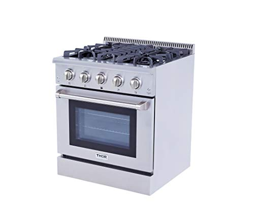 Thor Kitchen HRD3088U Stainless Steel 30″ Dual Fuel 4 Burner Gas Range Freestanding Electric Gas Convection Oven – 4.2 cu. ft.