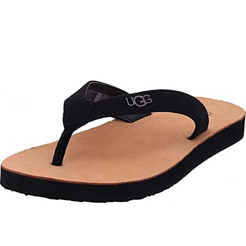 UGG Australia Damen Tawney Logo Sandale, schwarzes Nubukleder, 37 EU