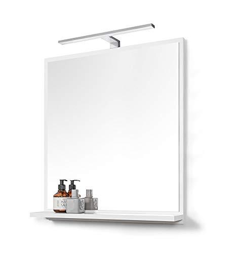 DOMTECH Großer Badspiegel mit Ablage Weiß mit LED Beleuchtung Badezimmer Spiegel Wandspiegel