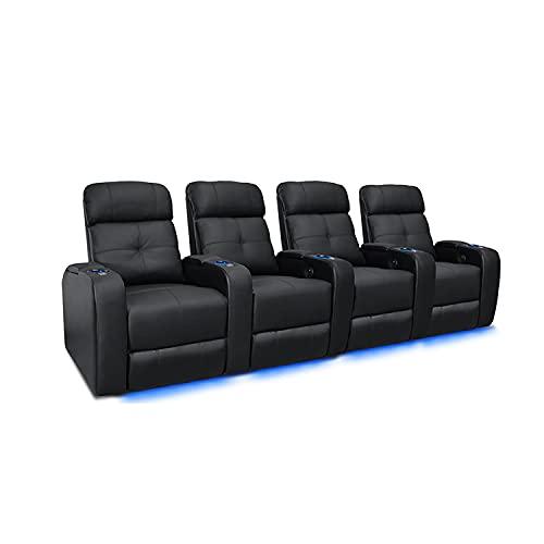 Valencia Verona Home Theater Seating | Premium Top Grain Italian 9000 Leather, Power Recliner, LED Lighting (Row of 4, Black)