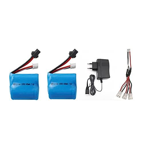 V-MAXZONE - Batteria agli ioni di litio, 7,4 V, 600 mAh, 18350, per barche Skytech H100 H102 RC 2s 7,4 V, per S1 S2 S3 S4 S5, colore: nero