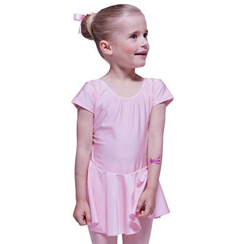 tanzmuster ® Ballettkleid Mädchen Kurzarm - Marina - aus glänzendem Lycra Ballettanzug Tanzkleid in rosa, Größe 116/122