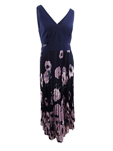 Xscape Women's Plus Size Printed Pleated Gown (14W, Navy)