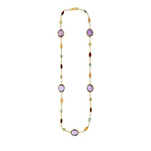Diamond2Deal - Collana da Donna in Oro Giallo 14 kt con Pietre Multicolore
