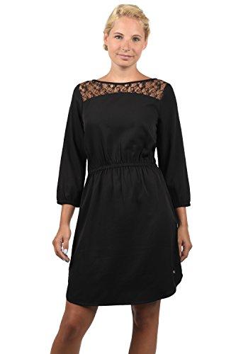 BlendShe Amora Damen Blusenkleid Lange Bluse Kleid Mit Rundhals-Ausschnitt Und Spitze, Größe:XXL, Farbe:Black Solid (20101)