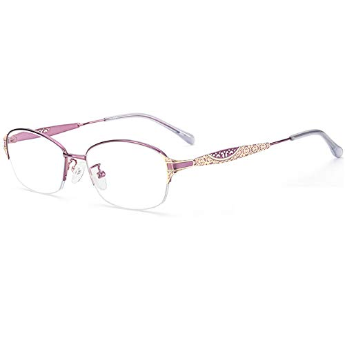 HQMGLASSES Gafas Lectura Vidrios de Lectura Anti-Azul/Anti-radiación de Las Gafas de Lectura, 1,56 Hoja de Resina aspiral Lector portátil Ultraligero Diopter+ 1.0 a +3.0,Púrpura,+3.0