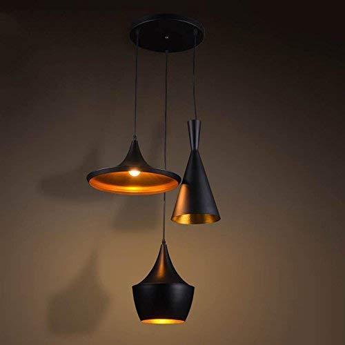 Nordic vintage hanglamp 3 koppen retro verstelbare plafondlamp hanglamp voor eetkamer, slaapkamer woonkamer badkamer badkamer plafond ventilator E27 50 cm en tak 100 cm N