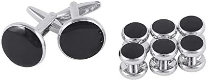 Sewing Button Black Stainless Steel Round Shirt Cufflinks Mens Tuxedo Cuff Button and Button Studs Set Christmas Gifts Cuff Link Wedding - (Color: 1 Set)