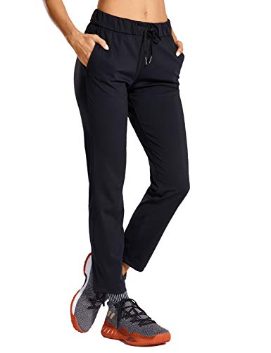 CRZ YOGA Women's Stretch Lounge Sweatpants Travel Ankle Drawstring 7/8 Athletic Track Yoga Dress Pants Black Small