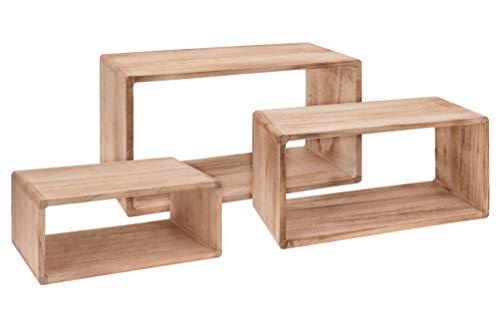 Spetebo Wandregal Rechteck 3er Set aus Holz - 45/40/35 cm - Hängeregal Würfel Regal Holz Natur