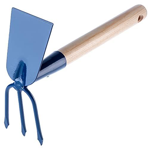 KADAX Hacke aus Metall, Gartenhacke mit Stiel aus Holz, Doppelhacke für Garten zum Lockern, Lüften und Jäten des Bodens, Unkrauthacke (Kurz, Rechteck - 3 Zinken, Mit Holzstiel)