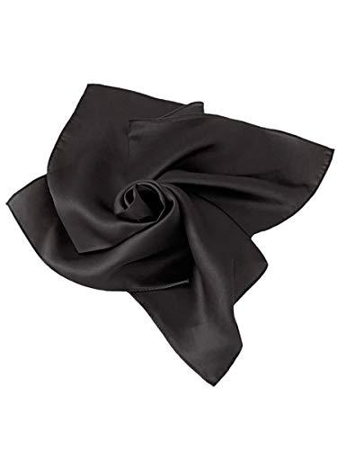 PB Pietro Baldini Seidentuch Bandana für Damen - Als Halstuch & Kopftuch verwendbar - ( schwarz ) - 55 x 55 cm