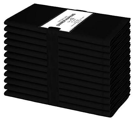 Clinica de algodon Paquete de 12 Servilletas de Tela, Servilletas de Algodón, Suave y Cómoda, Calidad de Hotel Duradera, para Boda, Eventos y Uso Doméstico Regular 44 x 44 cm Negro