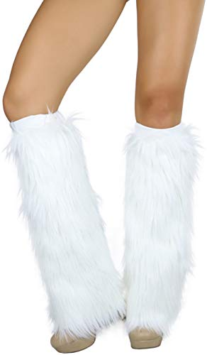 ToBeInStyle Women's Faux Fur Knee Hi Leg Warmer - White