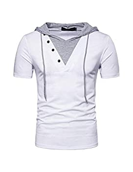 Kimiee Men s Short Sleeve Hoodie T-Shirt Casual Slim Fit Workout Pullover Hooded Shirts  M White