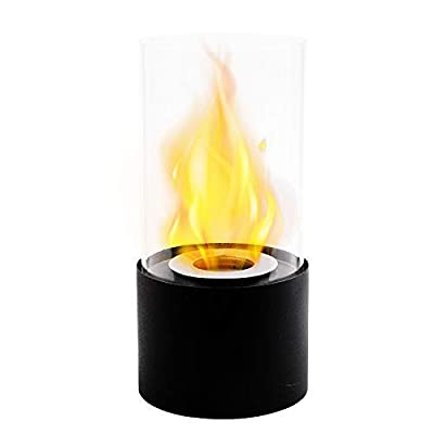 Black Tabletop Fireplace Fire Bowl Pot Portable Bio Ethanol Fireplace with Glass Tube for Table Home Kitchen Living Room Garden Balcony by Nana Home