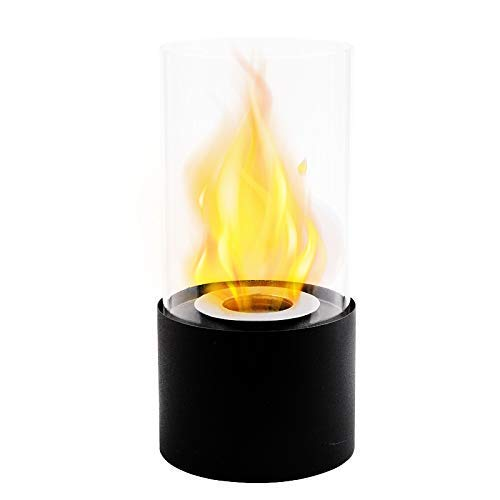 JHY DESIGN バイオエタノール暖炉 円形 高さ26cm 卓上ポータブルファイヤーボウルポット 屋内・屋外両用 アウトドア ストーブ (ブラック)
