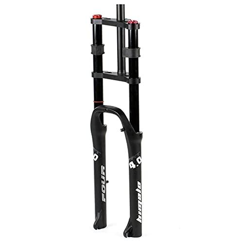 HJXX Horquilla de Bicicleta de 26x4.0 Pulgadas, Tenedores gordos, Horquilla de suspensión de Bicicleta eléctrica, Ajuste de la amortiguación del Freno de Disco de Aire MTB/ATV 160 mm